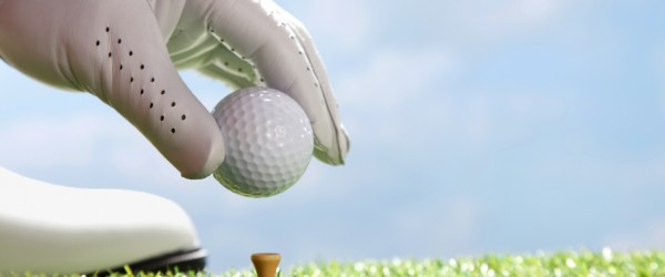 A shot of Placing golf ball on tee