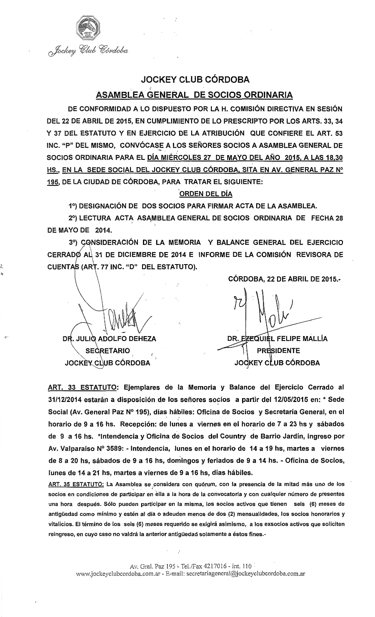 Convocatoria Asamblea General de Socios 27-05-2015-01