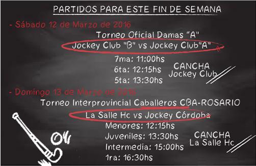 JCC Hockey - fixture 12 y 13 de marzo