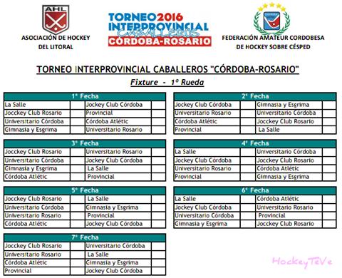 JCC Hockey - fixture del torneo inter provincial
